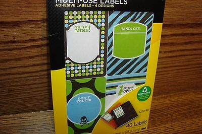 40 Forty Post-it Super Sticky Removable Multi-Use Labels #4 Designs Write Only ,