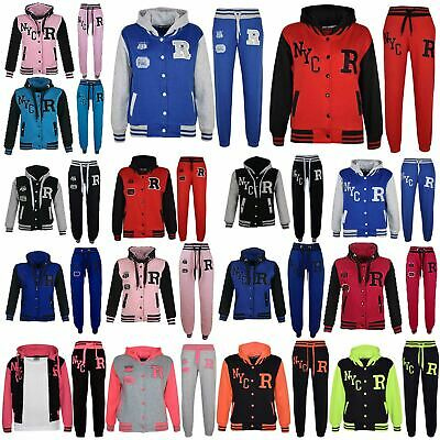 Kids Girls Boys Baseball Tracksuit NYC FOX Jacket Trouser Hoddie Bottom Joggers