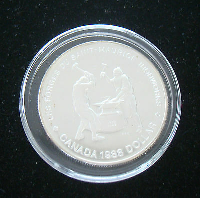 Canada 1 Dollar 1988 Saint Maurice Ironworkers .50 Silver Proof IN AIRTITE CASE