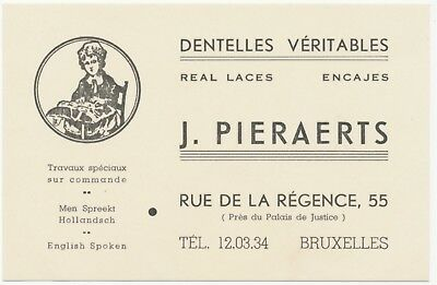J. Pieraerts Lace Shop Brussels BelgiumTrade Card