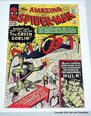 Amazing Spiderman 14 Marvel Comic Book 1964 1st GREEN GOBLIN! Fine- KEY Issue!