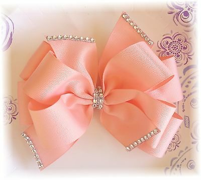Rhinestone Dazzled 6 Inch Custom Made Boutique Hair bow Double Layer