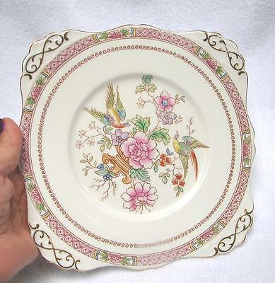 VINTAGE TUSCAN HAND PAINTED over transfer BONE CHINA CAKE SERVING PLATE Pink