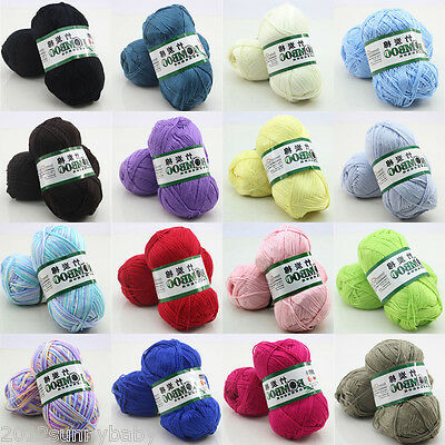 Super Soft Natural Smooth Bamboo Cotton Knitting Cole Yarn Ball 16 Colors 50g