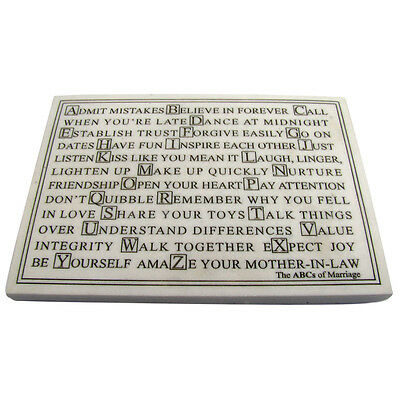 abcs ABC's alphabet OF MARRIAGE marble finish PLAQUE ma