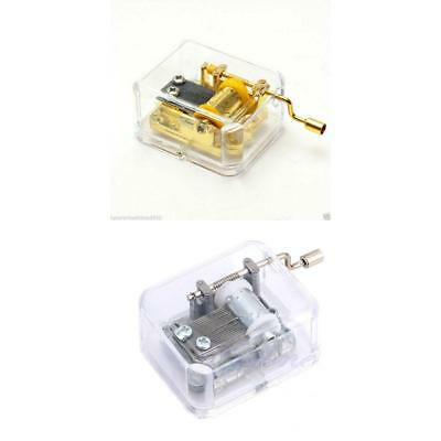 Acrylic Hand Crank Gurdy Mechanical Music Box Movement Kids Toy Collectibles