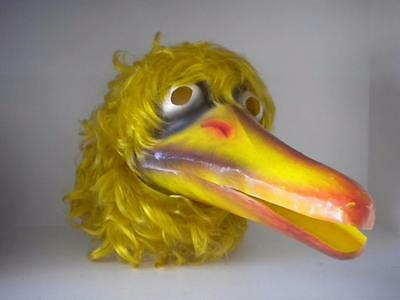 Vintage Sesame Street Yellow Big Bird Halloween Mask Plastic Beak Full Back