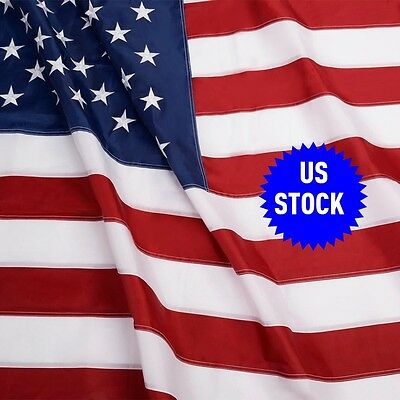 3'x5' FT American Flag USA US Sewn Stripes Embroidered Stars Brass Grommets Hot