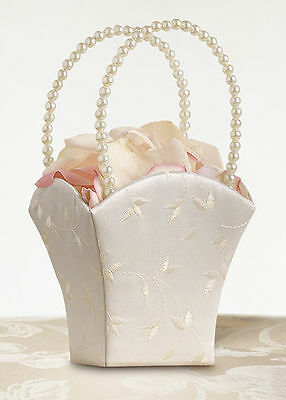 Ivory Satin Floral Embroidery Wedding Flower Girl Basket with Pearl Handle