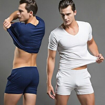 4a5662991ec1 New Men Nightwear Set Pajamas Comfy Sleepwear Homewear Tracksuit Top +  Shorts