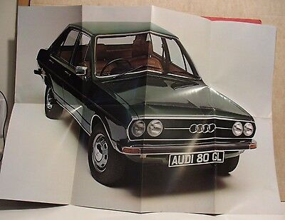 Audi 80 GL Sales Brochure/Poster - South African Market - Circa 1977