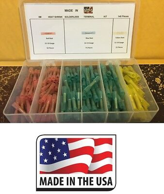 (140) X 3M Heat Shrink Electrical Wire Connector Butt Kit Marine Auto all sizes
