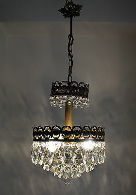 Antique French Basket Style Brass & Crystals 3 Lights Chandelier from 1950's