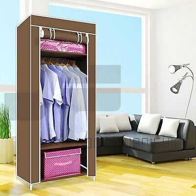 Double canvas wardrobe clothing hanging rail storage - Bedroom furniture for hanging clothes ...