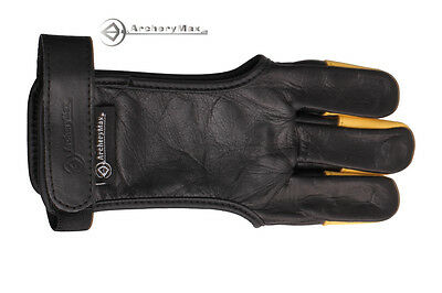 ARCHERY GLOVE FOR TARGET SHOOTING FINGER PREMIUM LEATHER Black And Yellow