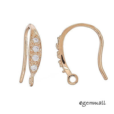 Rose Gold Plated Sterling Silver CZ French Earring Hook Ear Wire Connector 99367