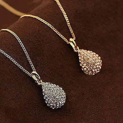Women Rhinestone Crystal Gold Silver Plated Teardrop Long Chain Pendant Necklace