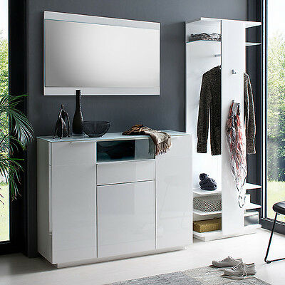 garderobenset 2 canberra garderobe schuhschrank paneel wei hochglanz lack glas eur 949 95. Black Bedroom Furniture Sets. Home Design Ideas