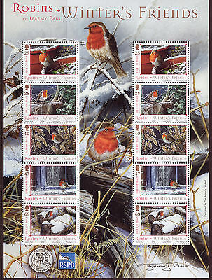 Isle Of Man 2004 Winter's  Friends - Robins Miniature Sheet Unmounted Mint