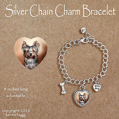 YORKSHIRE TERRIER Puppy Yorkie -  CHARM BRACELET SILVER CHAIN & HEART