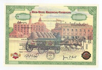 Red Bell Brewing Co stock certificate- Unissued - RARE!