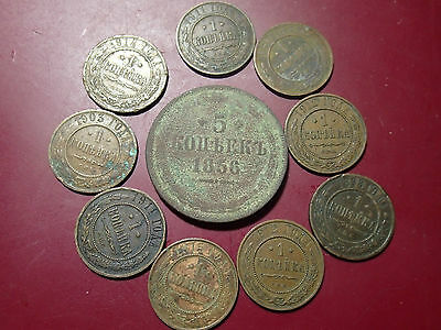 pre 1917 Lot of 10  ANTIQUE ORIGINAL IMPERIAL RUSSIAN 1 & 5  KOPECK COPPER COINS