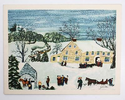 Exceptional 1959 Boldy Signed Grandma Moses Snow Scene Print Greeting Card