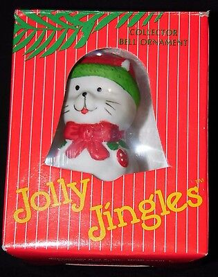 Vintage 1986 Cat JOLLY JINGLES B of A Collector Christmas Bell Ornaments