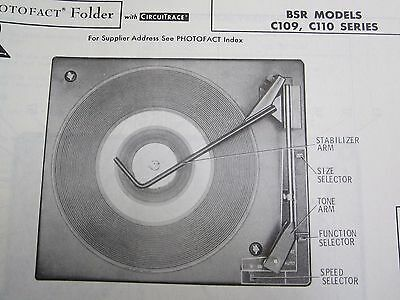 Bsr C109 & C110 Series Record Changer Turntable Photofact