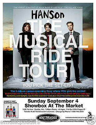 "HANSON 2011 ""THE MUSICAL RIDE TOUR"" SEATTLE CONCERT POSTER - Pop Rock Music"