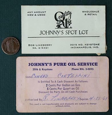 1950-60s Indianapolis,Indiana Johnny's Pure Oil Gas Station business card set!