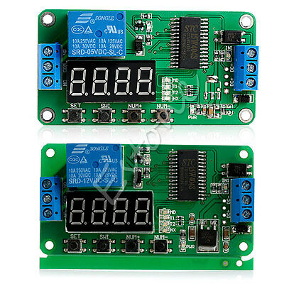 DC 5/12V Multifunction Self-lock Relay PLC Cycle Timer Module Delay Time Switch