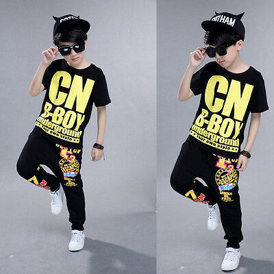 Kids Party Stage Dancewear Outfits Costumes Boys Hip Hop Tap Ballroom TOP+Pants