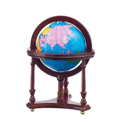 Dolls House Miniatures Globe of the World Map in a Mahogany Wood Stand 12th