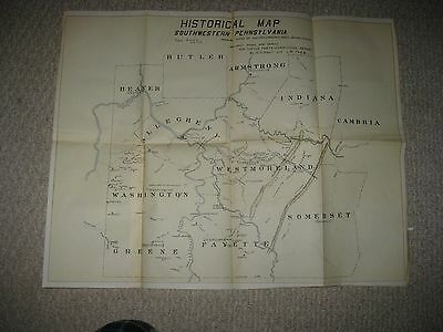 Antique Westmoreland Allegheny Fayette County Pittsburgh Fort Pennsylvania Map N