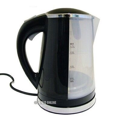 Black 1.7 Litre 2200W Dual Illuminated Cordless Electric Jug Kettle Fast Boil