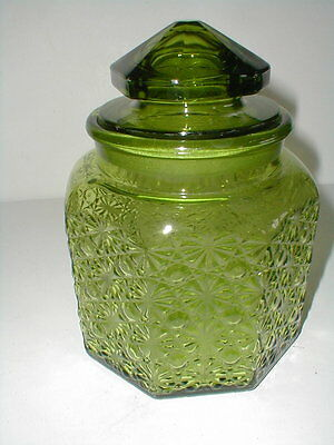 """L E Smith Glass Green DAISY BUTTONS Medium 8"""" Canister w Lid EXC"""