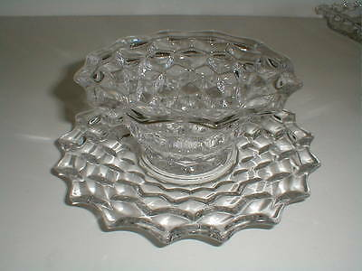 Fostoria Clear Glass AMERICAN Mayonnaise/Mayo Bowl & Underplate (loc-bas)