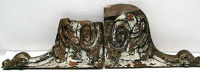 Antique Pair Architectural Corbel Pediments Cornice Salvage Shabby Carved Wood