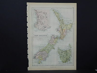 Antique Map, Blacks, 1862, New Zealand, Tasmania M7#19