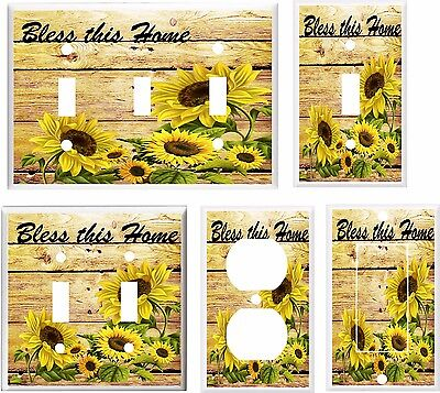 Sunflower Bless This Home Light Switch Cover Plate  K1   U Pick Plate Size