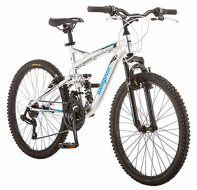 Mongoose 24 inches Boy's Full Suspension Status 2.2 Bike Bicycle - Silver