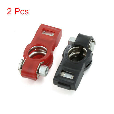 2 Pcs Positive Nagative Car Battery Terminal Clamp Clips Connector w Dust Cover