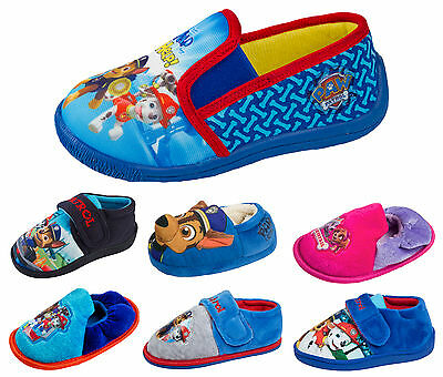 Boys Paw Patrol Slippers With Velcro Strap Characters Chase Rubble Marshall Size