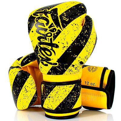Fairtex Muay Thai Boxing Gloves 14 Yellow Black Microfiber PU Sparring Training