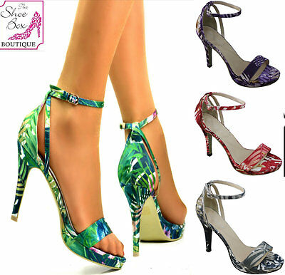 Ladies Bright Floral Print Open Toe High Stiletto Heel Ankle Strap Sandals 3-8
