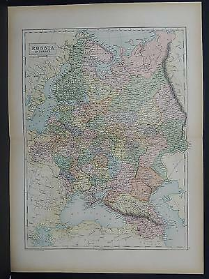 Antique Map, Black's, 1862 Russia (in Europe) Double-Page M7#44