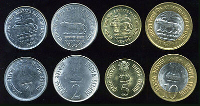 INDIA SET OF 4 COINS 1 2 5 10 Rupees PLATINUM JUBILEE TIGER UNC