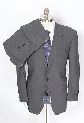 CANALI Solid Gray Super 120's Virgin Wool Flat Front Suit 60 6R 50R fits 48R NWT