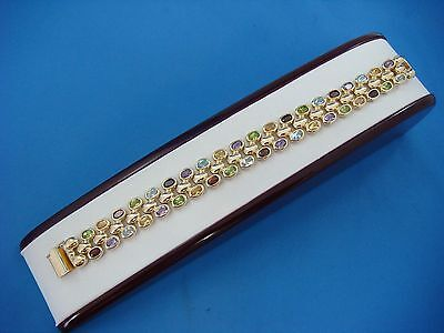 Gorgeous 14K Gold 14Mm Wide Gem Stone Ladies Bracelet, 28.3 Grams, 7 Inch Long